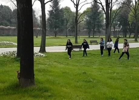 Parkta sincap gören gençlerin şaşkınlığı kamerada